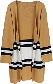 Womens Fashion Elegant Striped Color Block Patchwork Long Sleeve Open Front Knit Cardigans