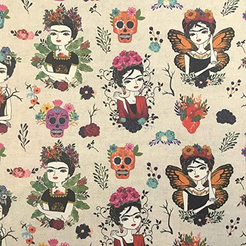 Kt KILOtela Tela por Metros de loneta Estampada Digital - Half Panamá 100% algodón - Ancho 140 cm - Largo a elección de 50 en 50 cm | Frida Fashion - Multicolor