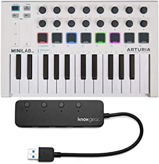 Arturia MiniLab MkII 25 Slim-Key Controller with Knox 3.0 4 Port USB HUB
