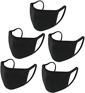 5 Pack Face Covering, Mouth Covering Unisex Black Dust Cotton, Washable Reusable Cotton Fabric Dust Covering【US in Stock】(Black)