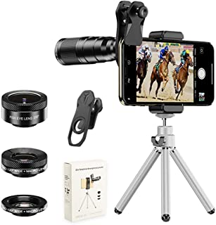 4 In 1 Cell Phone Camera Lenses Kit, 22X Telescopic Zoom Lens/4K Hd 120° Super Wide Angle/Macro/205° Fisheye Lens/Tripod C...
