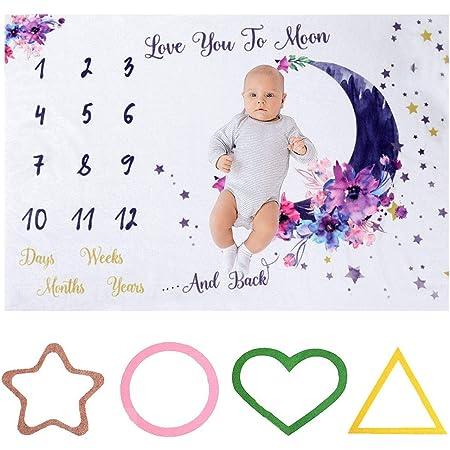 TUT Coperta per neonati in flanella, panno per foto per bambini, registra la crescita mensile del bambino, oggetti di scena per foto per bambini (100 * 150cm)