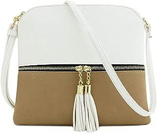 IAMUP Women Leather Tassel Handbag Crossbody Bag Pure Color Shoulder Bags Messenger Anti Theft Simple Solid Bag