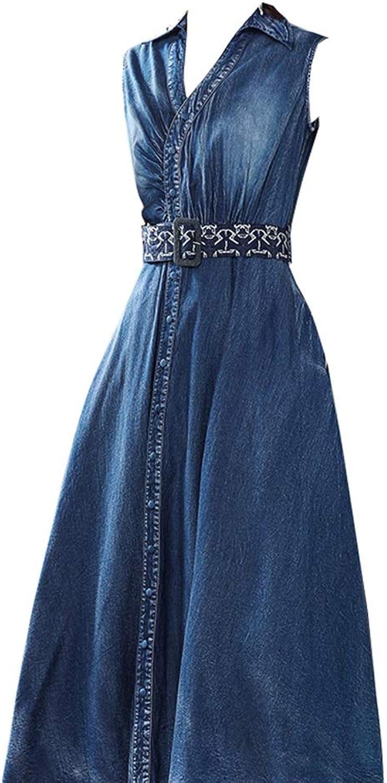 Dress Dress, MidLength VNeck Waist Slimming Temperament Sleeveless Long Skirt Denim Dress (Size   XXL)