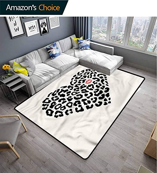 TableCoversHome Kiss Paisley Rug Pads Heart Shaped Leopard Skin Pattern Printing Rugs Durable Rugs Living Dinning Office Rooms Bedrrom Hallway Carpet 2 5 X 9
