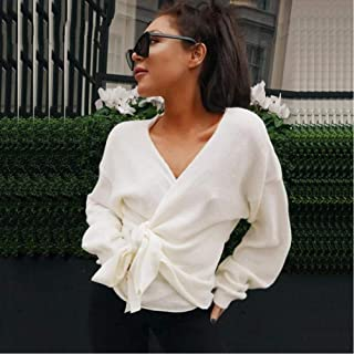 LJLLINGA Lace Up V Neck Cross Winter Knitted Sweaters Women Off-Shoulder Pink Streetwear Sexy Oversized Cardigans Women