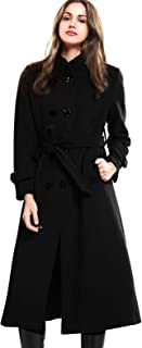 Women's Wool Trench Coat Winter Double-Breasted Jacket with Belts