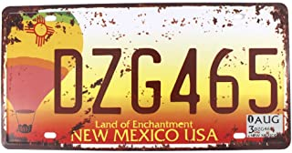 6x12 Inches Vintage Feel Metal Tin Sign Plaque for Home,bathroom and Bar Wall Decor Car Vehicle License Plate Souvenir (NEW MEXICO DZG465)