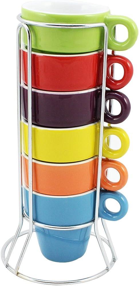 Com-four, 6 tazzine da caffè, in ceramica colorata, con supporto cromato CF6692