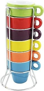 com-four® 6 tazas de espresso de cerámica en varios colores brillantes con soporte cromado, 5 x 5 cm (06 piezas - coloridas)