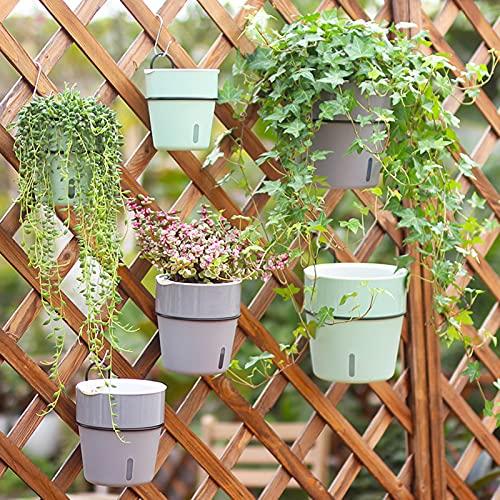 SMLJFO Juego de 3 macetas de riego automático, macetas colgantes para balcón, jardín, macetas, cercas y plantas para orquídeas de aloe y suculentas, color gris