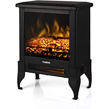 "TURBRO Suburbs TS17 Compact Electric Fireplace Stove, Freestanding Stove Heater with Realistic Flame - CSA Certified - Overheating Safety Protection - for Small Spaces - 18"" 1400W"