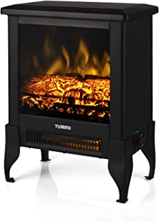 TURBRO Suburbs TS17 Compact Electric Fireplace Stove, Freestanding Stove Heater with Realistic Flame - CSA Certified - Overheating Safety Protection - for Small Spaces - 17