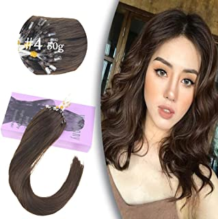 VeSunny 14 Inch MicroBead Hair Extensions Dark Brown #4 Easy Loop Micro Ring Beads Remy Human Hair Extensions 1G/S 50 Strands Micro Link Hair Extensions With Salon Quality