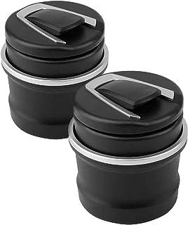 GLOBALDREAM 2 Stück Auto Aschenbecher Winddicht Aschenbecherhalter Schwarz Abnehmbar 2 in 1 Tragbare Auto Zigarette Rauchfrei Aschenbecherhalter Tablett