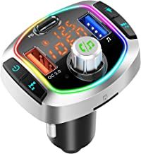 Bluetooth FM Transmitter for Car, QC3.0+USB-C Fast Charger Wireless Bluetooth Car FM Radio Adapter Music Player FM Car Kit...