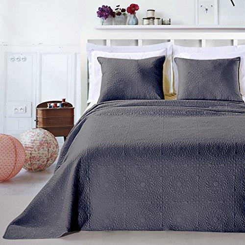 DecoKing Premium 12765 Tagesdecke 240 x 260 cm Graphit Stahl mit 2 Kissenbezügen 50x60 cm Bettüberwurf Pflanzen pflegeleicht Elodie