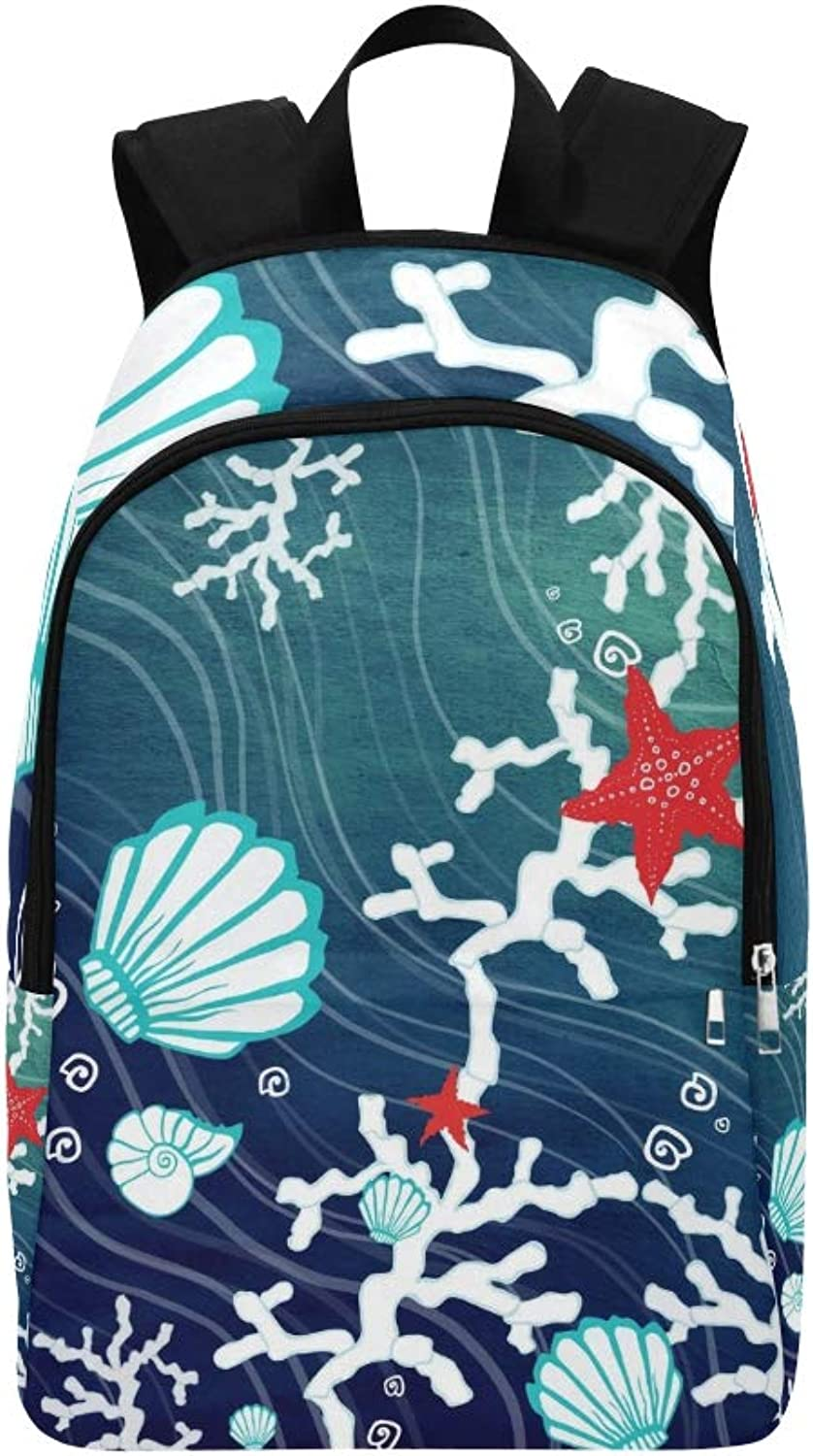 blueee Marine Stars Shell Coral Casual Daypack Travel Bag College School Backpack for Mens and Women