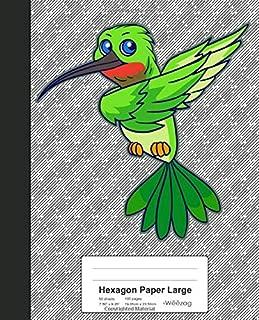 Hexagon Paper Large: Dabbing Green Humming Bird Book (Weezag Hexagon Paper Large Notebook)