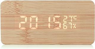 Gearmax® LED reloj despertador Reloj despertador de madera con la voz del tiempo Comando / temperatura / humedad / Calendario brillo ajustable de la batería / conector USB Decoración dormitorio, cocina, oficina, tienda, Club de madera de bambú del coche