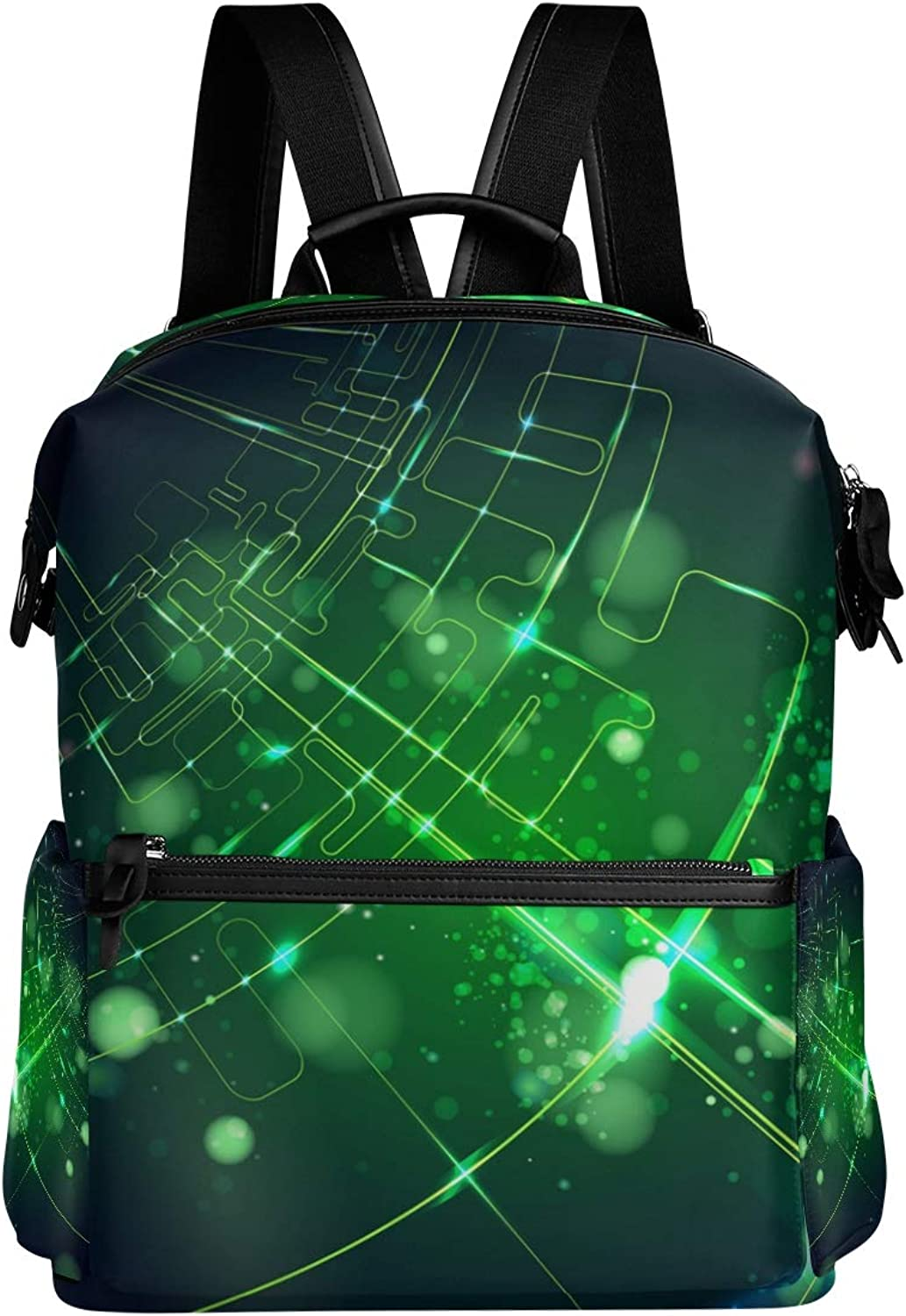 MONTOJ Green High Tech Light Pattern Leather Travel Bag Campus Backpack
