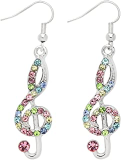 Liavy's Treble Clef Musical Note Fashionable Earrings - Sparkling Crystal - Fish Hook - Unique Gift and Souvenir - 2 Colors