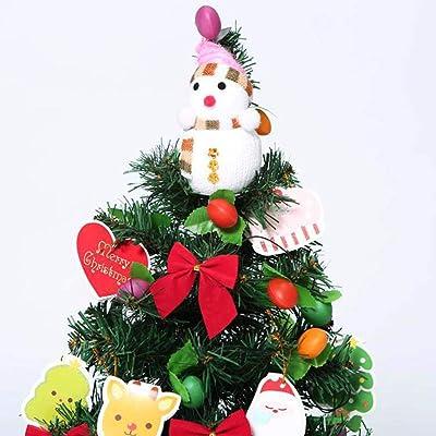 HHORD 45 / 60Cm Mini Árbol De Navidad, La Mesa Árboles De Navidad Artificiales con 1 Muñeco De Nieve, Arcos 12, 14 De La Deseen, 1 Linterna,45CM: Amazon.es: Hogar