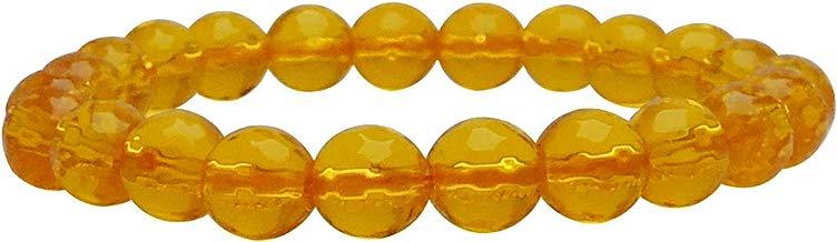Satyamani Natural Dyed Citrine 8 mm Bead Stone Bracelet