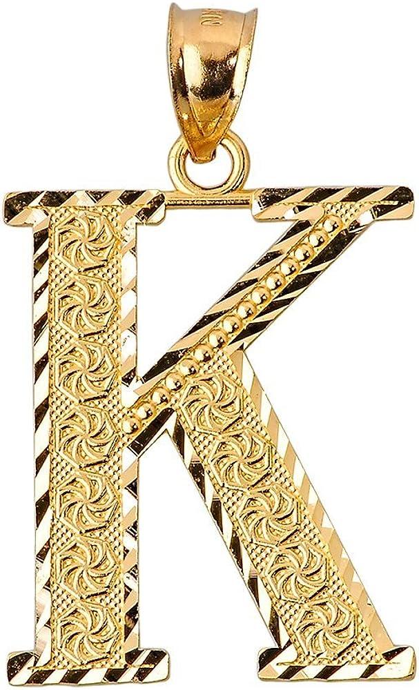 10k Yellow Gold Initial Letter K Charm Pendant, 0.7
