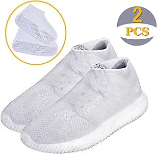 Reusable Silicone Boot and Shoe Covers,AIVS Waterproof Rain Socks, Silicone Rubber Shoe Protectors for Indoor and Outdoor Protection - 1 Pair(2 PCS) (Large, Clear White)