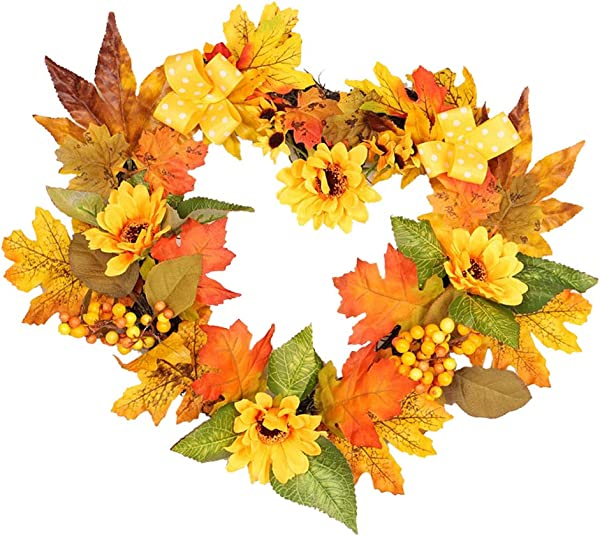 Prettyia Harvest Silk Fall Front Door Sunflower Wreath 16 Inch Brightens Color Enhance Home Decor For Outdoor Display Autumn Thanksgiving Wreath Heart