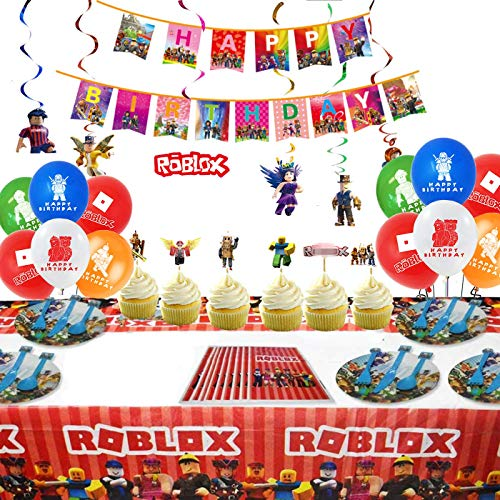 92Pcs Robot Party Supplies Set 10-guest Robot Theme Party -Birthday Decorations,Happy Birthday Banner,Spiral Ornaments,goodie bags,Tablecover,Plates,Knives,Spoons,Forks,Cake Toppers,Balloons,For Roblx Birthday Party Decoration