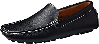 Jamron Hommes Cuir Synthétique Stylé Boucle Mocassin Pantoufles Penny Loafers