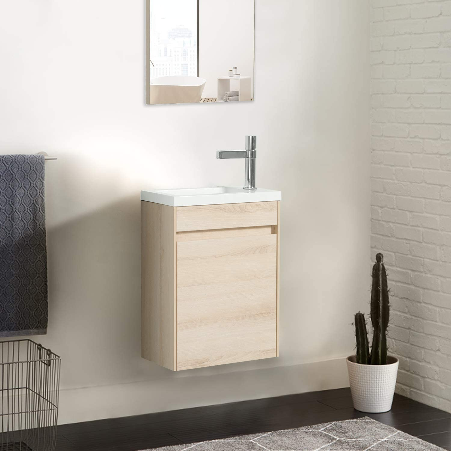 Bathroom Sink Cabinet Set For Small Space Oak Tona Modern Design Wall Mounted Vanity Set With Single Door Invisible Handle 16 Small Bathroom Vanity With Sink Combo Pietra Mini 400 Bathroom Sink