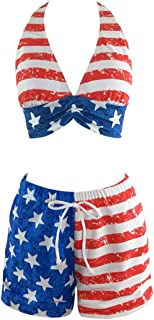 Women's American Flag Themed 2 Piece Swimsuit