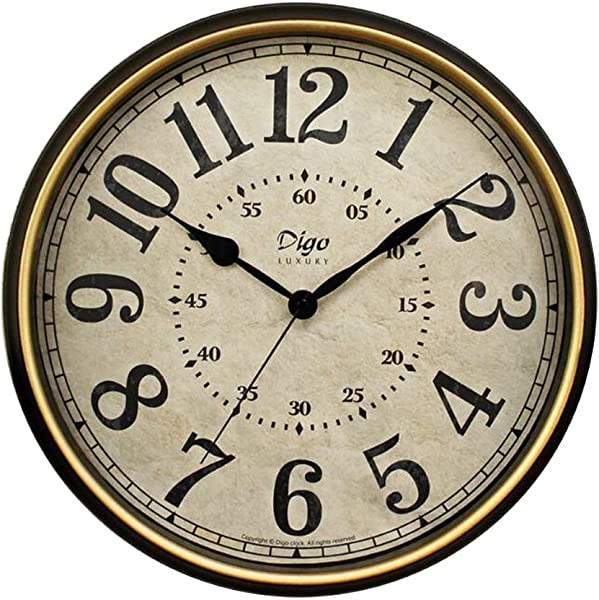 JUSTUP Large Wall Clock 15 Inch Vintage Wall Clock Non Ticking Silent Battery Operated Black Clock With Metal Frame HD Glass Easy To Read For Indoor Decor 15in Arabic