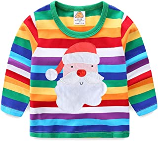 LittleSpring Kids Rainbow Stripe T-Shirt 1-8T