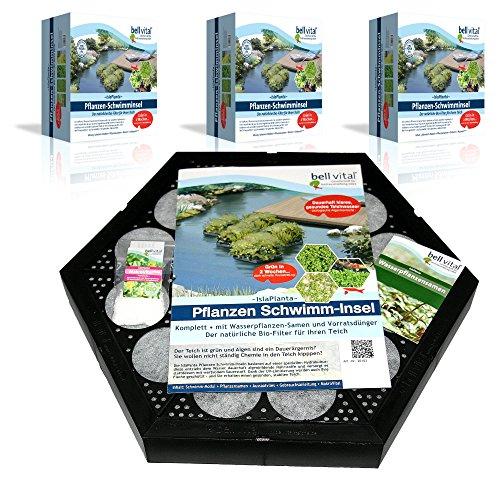 bell vital® Isla Planta Pflanzinsel (3er Set) für einen sauberen Teich, rein biologisch, modular erweiterbar, 38cm