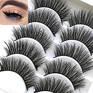 ICYCHEER Makeup 5 Pairs 3D Mink Eyelashes Fake Eye Lashes Makeup Hand-made Dramatic Thick Crisscross Deluxe False EyeLash Black Nature Fluffy Long Soft Reusable (53)