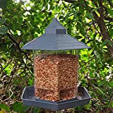 Wild Bird Feeder   Hexagon Shaped Bird Feeder, Pet Feeder   Roof Shaped Plastic Hanging Feeder with 6 Feeding Ports for Outdoor, Garden & Patio Decoration - Makes an Excellent Gift for Bird Lovers
