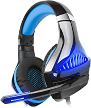 iKiKin Gaming Headset, Beexcellent Gaming Headset GM-5 for PS4, Xbox One, Mac Nintendo Switch, with Mic, Volume Control, Noise Cancelling, LED Light, Bass Surround (Blue)