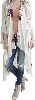 Women's Floral Print Cardigan Chiffon Loose Swing Kimono Capes 3/4 Sleeve Irregular Tops