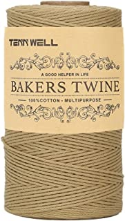 Tenn Well Cotton String, 3Ply 656Feet Bakers Twine Food Safe Cooking String for Trussing and Tying Poultry Meat Making Sausage DIY Crafts and Decoration