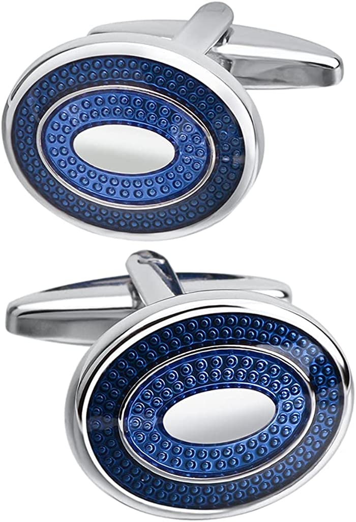 SAVOYSHI Classic Stainless Steel Bussiness Cufflinks for Mens French Shirt Cuffs Oval Blue Enamel Cuff buttons Wedding Gift