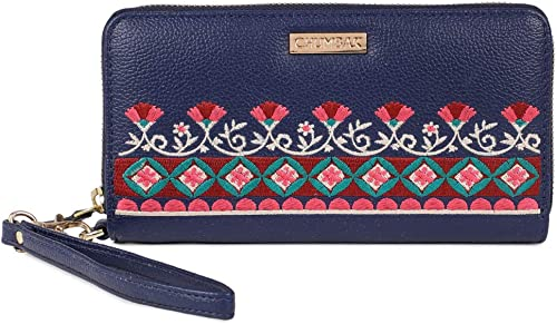 Floral Bunch Embroidered Navy Long Wallet