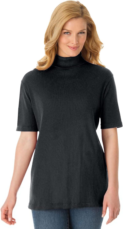 Woman Within Women's Plus Size Ribbed Short Sleeve Turtleneck Shirt