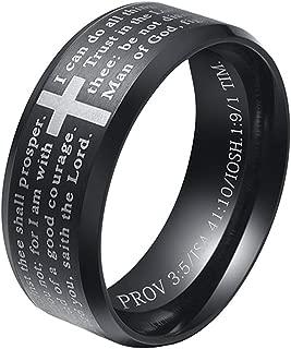 INRENG Men's Stainless Steel Bible Verse Christian Lord's Prayer Cross Ring Wedding Bands Engraved Praying