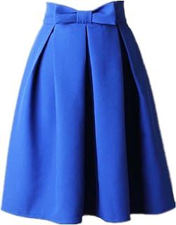 تنورة كلاسيكية بطيات على شكل حرف A للنساء عالية الخصر ميدي متزلج مع ربطة عنق