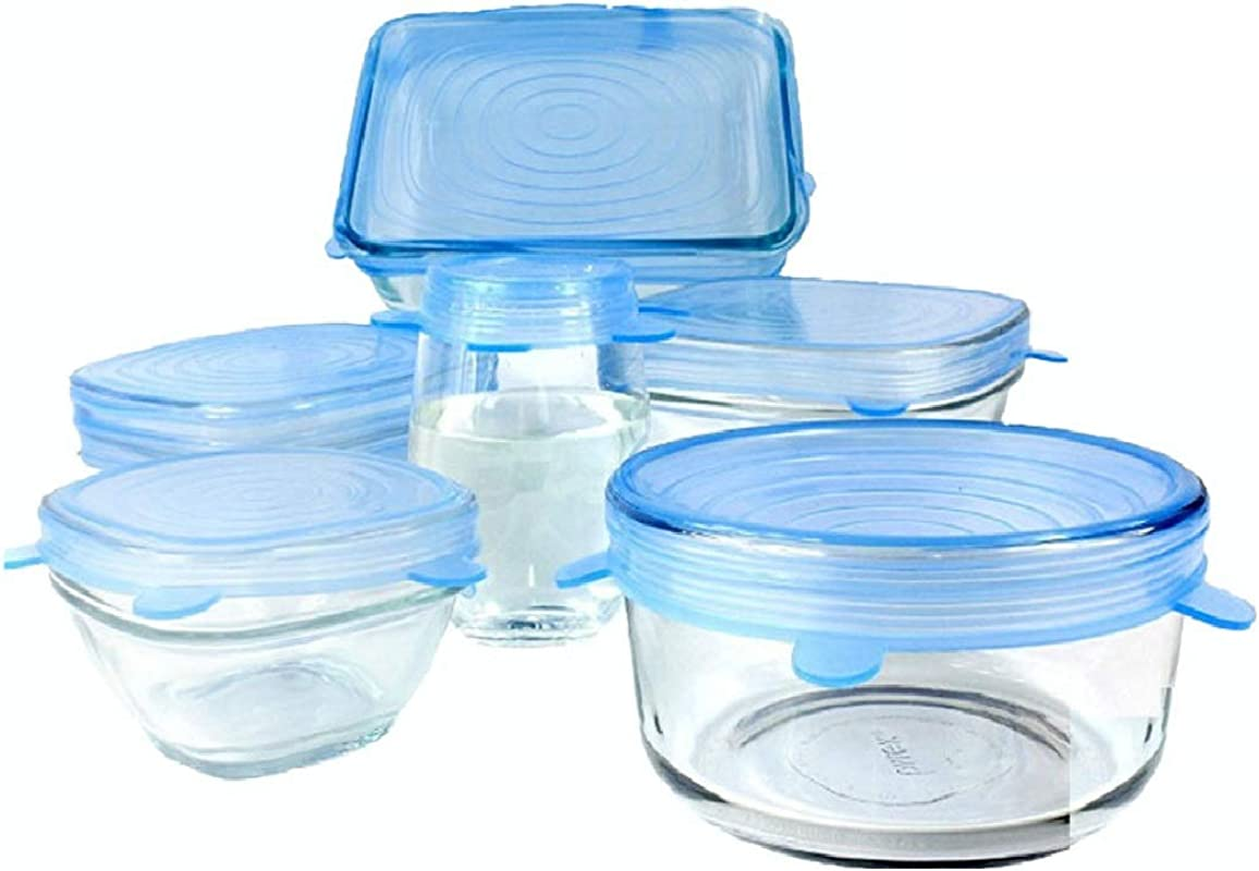 Silicone Stretch Lids Pack Of 6 Blue Colour Stretchable Food Storage Covers To Fit Various Size Containers Reusable Expandable And Durable Microwave And Dishwasher Safe