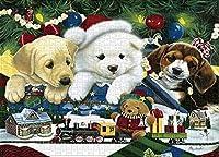 1000ピース クマと犬 クリスマス ジグソーパズル 教育的 大人 知性 減圧 楽しいゲーム 子供 大人 家族 壁装飾 猫と犬 クリスマス パズル サイズ 11 19.6インチ